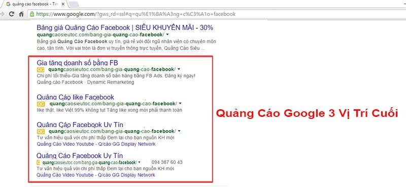 Quảng cáo google 3 vị trí cuối