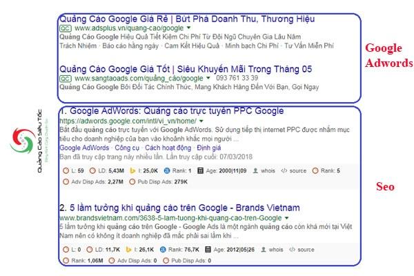 Phân biệt vị trí SEO và Quảng Cáo Google