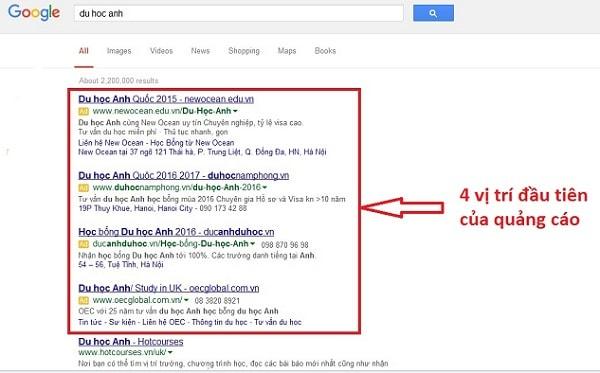 quảng cáo bằng google adwords
