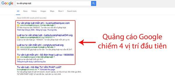 Vị trí quảng cáo Google Adwords TOP 4