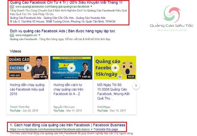 Hiển thị quảng cáo Google Search