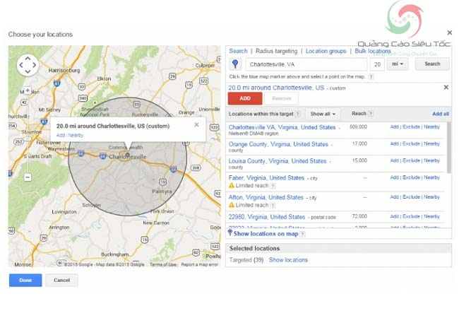 Quảng cáo Google target theo vị trí địa lí