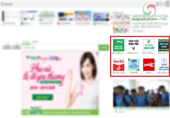 Quảng cáo dạng Icon trên trang chủ Cốc Cốc