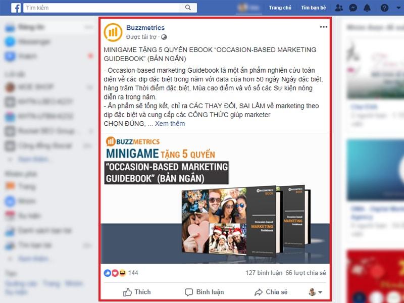 Mẫu quảng cáo Facebook ads trên Fanpage