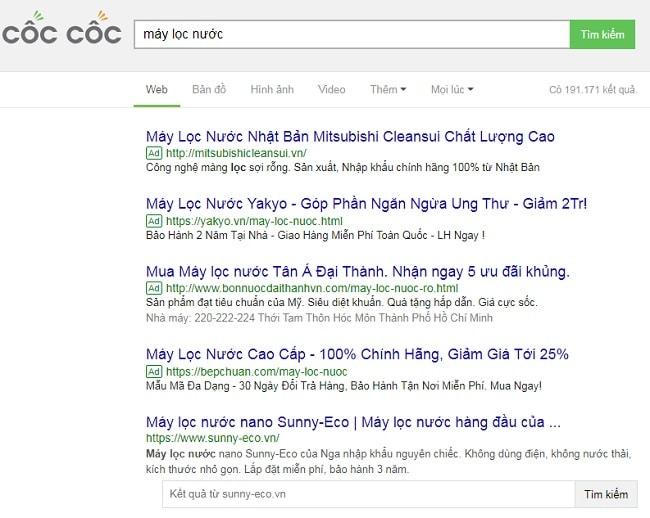 Dạng quảng cáo Cốc Cốc Search từ khóa