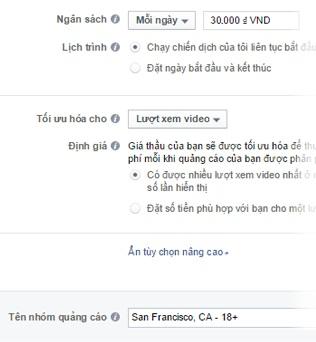 Quảng cáo video trên Facebook - thiết lập ngân sách quảng cáo Facebook