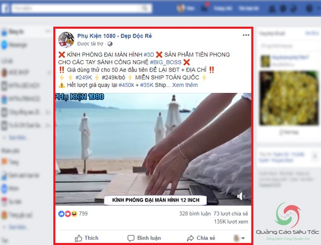 Minh họa dạng quảng cáo dạng video trên Facebook