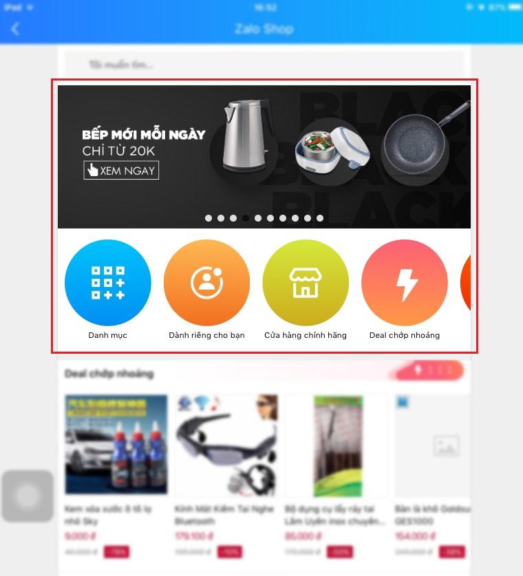 Quảng cáo page danh mục nổi bật trên Zalo