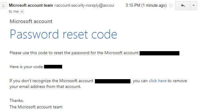 Quên mật khẩu Skype - kiểm tra mail lấy mã code