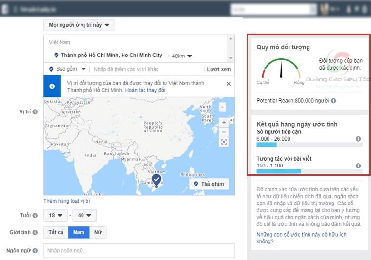 Thước đo quy mô đối tượng khi target facebook
