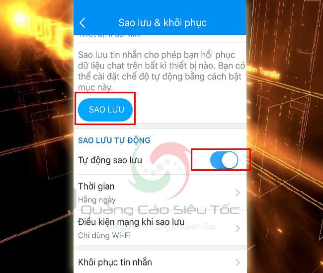 Sao lưu khôi phục tin nhắn Zalo theo định kì tự động