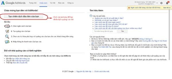 cách setup quảng cáo Google Adwords