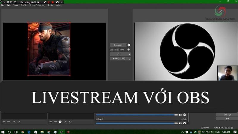 Phần mềm livestream trên Facebook hoặc Youtube OBS