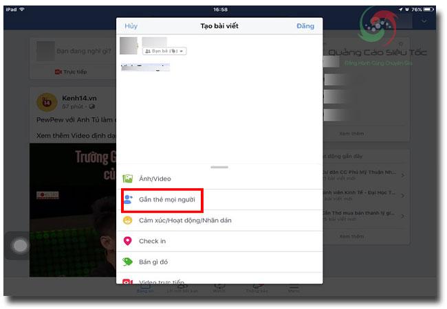 Tag bạn bè trên Facebook bằng tính năng gắn thẻ mọi người