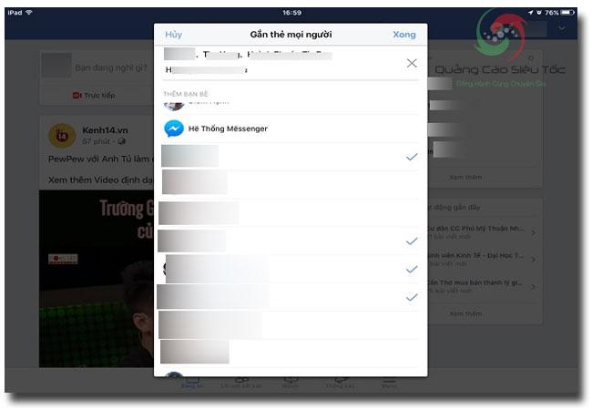 Tag bạn bè trên Facebook trên thiết bị di động