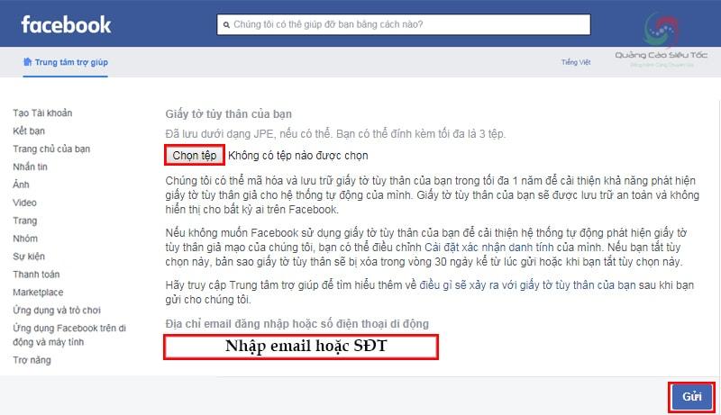 Bổ sung giấy tờ tùy thân, nhập lại email để mở tài khoản Facebook bị khóa