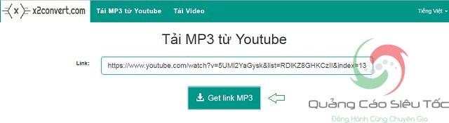 Dán liên kết video và chọn lấy link tải file mp3
