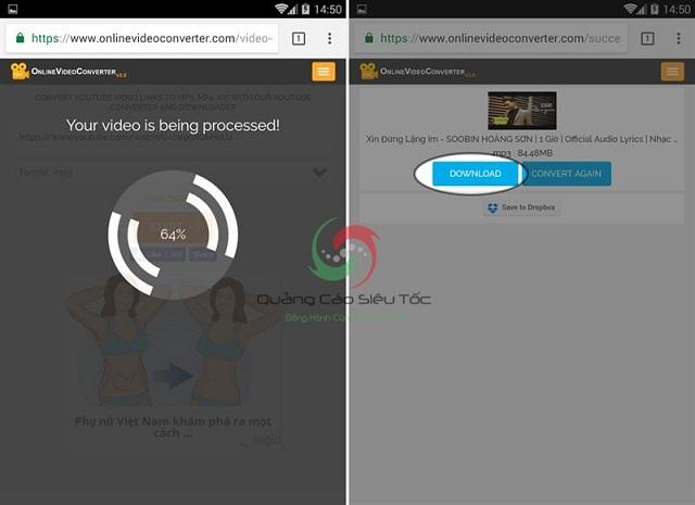 Download file mp3 của video trên Youtube về thiết bị di động