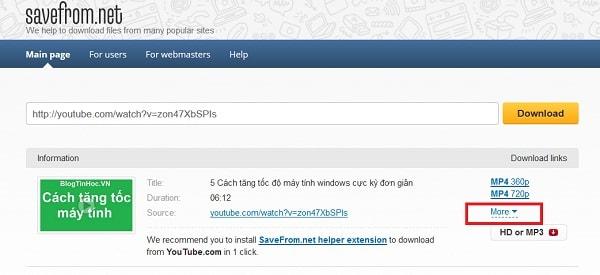 tai phan mem youtube ve may