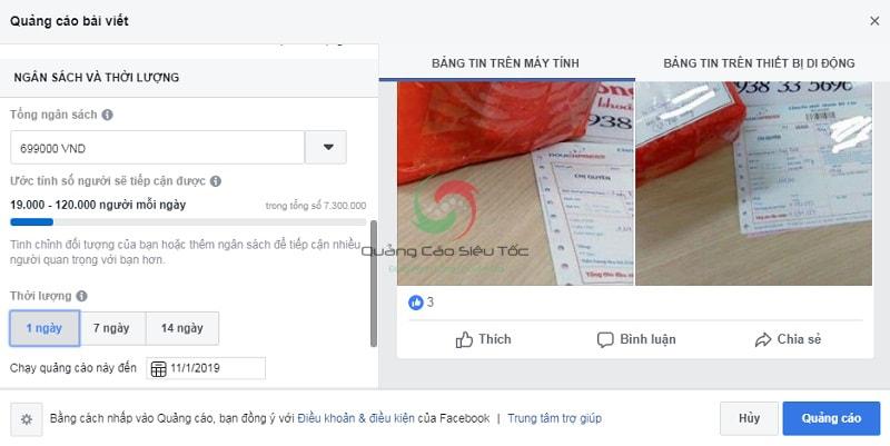 Tạo bài viết quảng cáo Facebook