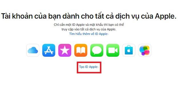 Tạo ID Apple bằng cách truy cập địa chỉ liên kết