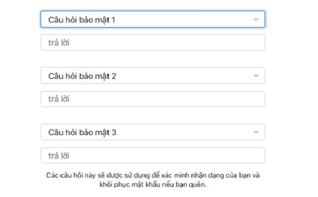 Tạo id Apple - Tạo câu hỏi bảo mật để lấy lại mật khẩu