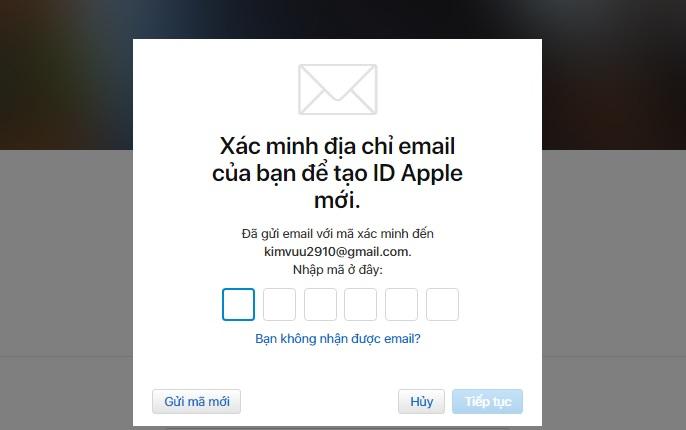Tạo ID Apple- Đừng quên kiểm tra xác nhận email