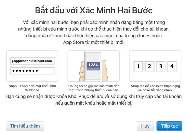 Tạo ID Apple - tạo lớp bảo mật thứ hai cho ID
