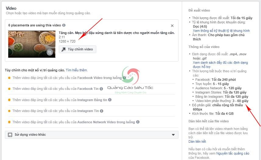 tối ưu quảng cáo video facebook
