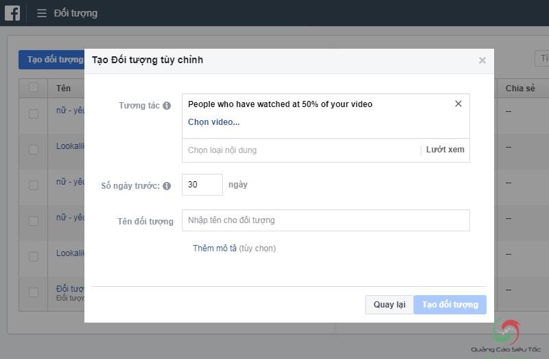Retarget quảng cáo facebook cho đối tượng đã xem video