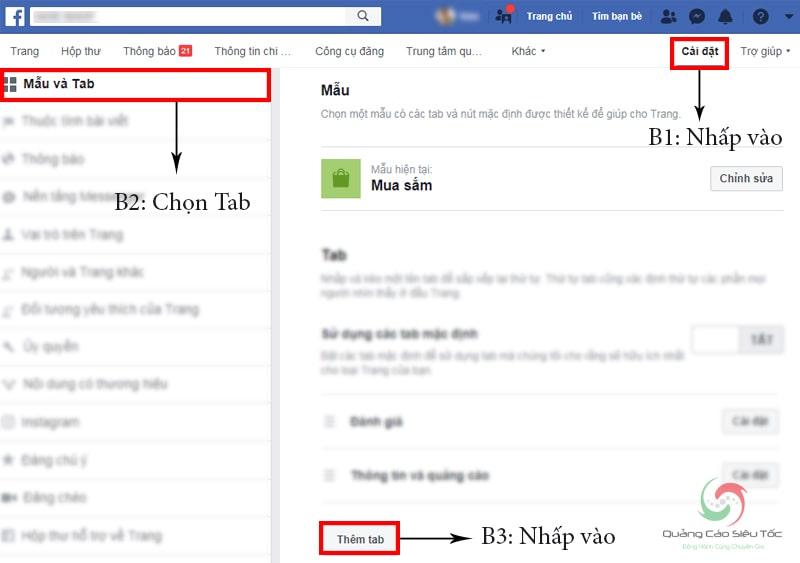 Thao tác truy cập tab Nhóm từ fanpage facebook
