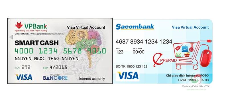 Minh họa mẫu thẻ Visa ảo