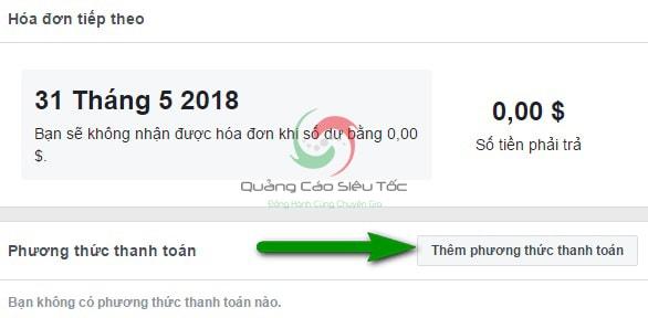 Chọn Thêm phương thức thanh toán quảng cáo Facebook