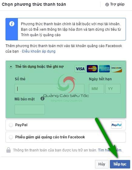 Nhập thông tin thanh toán từ thẻ