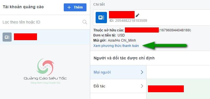 Thêm phương thức thanh toán quảng cáo Facebook