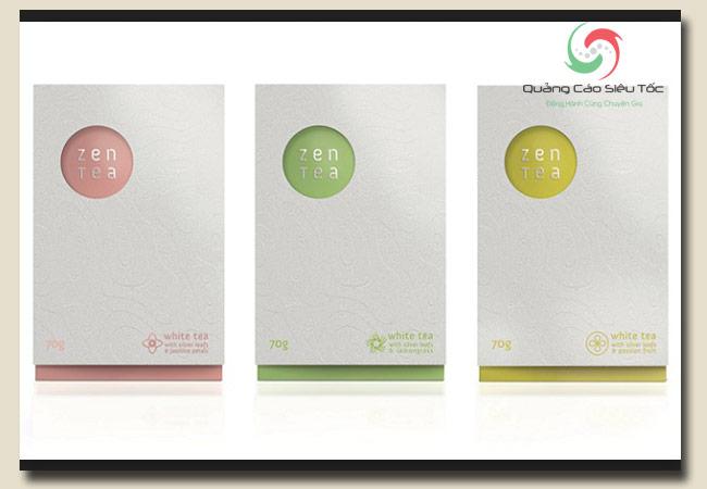 thiết kế bao bì theo phong cách tối giản của Zen Tea