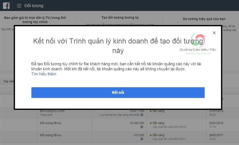 Thông báo kết nối tài khoản với Trình Quản Lí Kinh Doanh Facebook