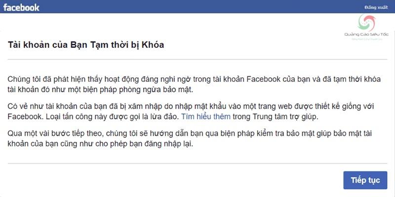 Thông báo tài khoản Facebook tạm thời bị vô hiệu hóa