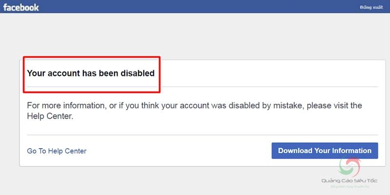 Thông báo tài khoản Facebook bị vô hiệu hóa vĩnh viễn