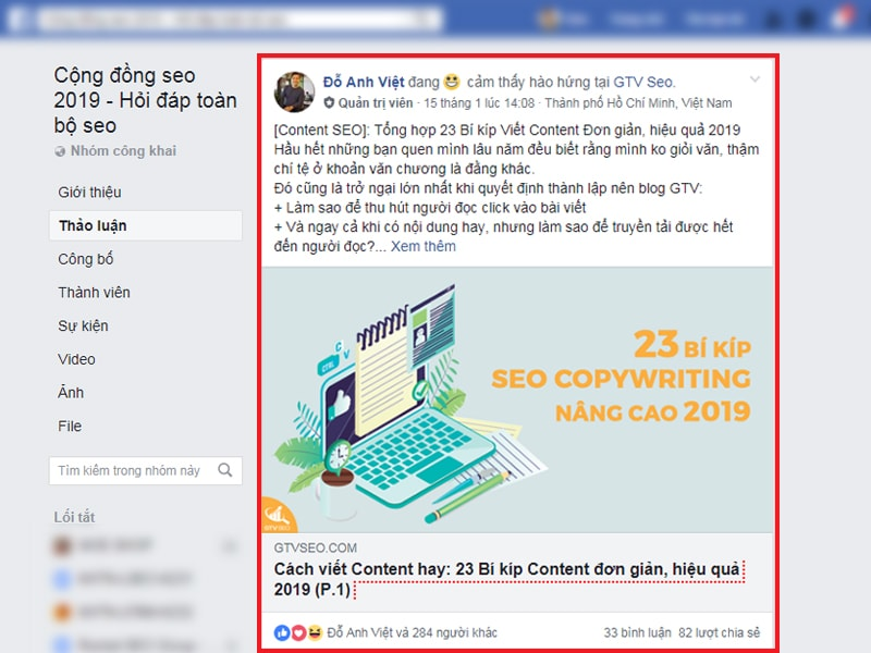 Thu hút lượt tương tác trong Group Facebook