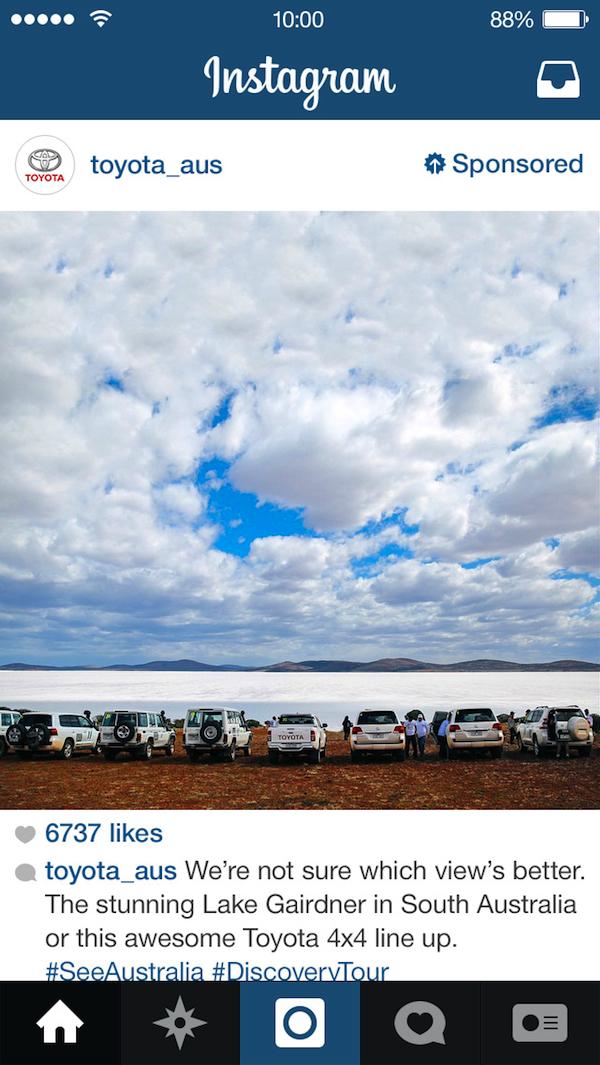 Quảng cáo của Toyota trên Instagram