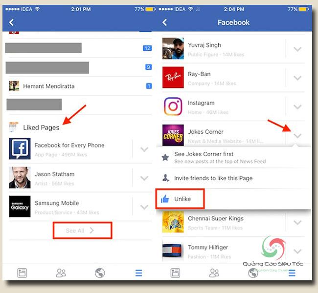 Xem các trang đã like trên facebook từ thiết bị di động bất kì