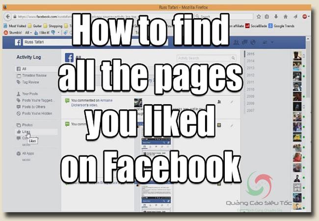 Xem các trang đã like trên facebook bằng cách nào