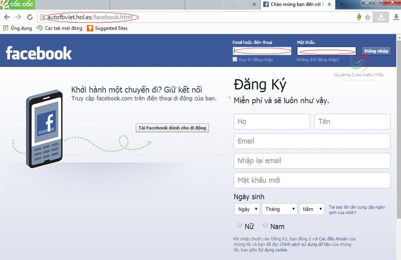 Trang Facebook giả mạo dùng để hack nick Facebook người khác
