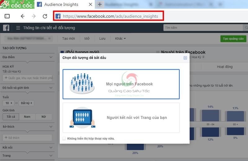 Truy cập Insights Audience bằng link chính thức của Facebook