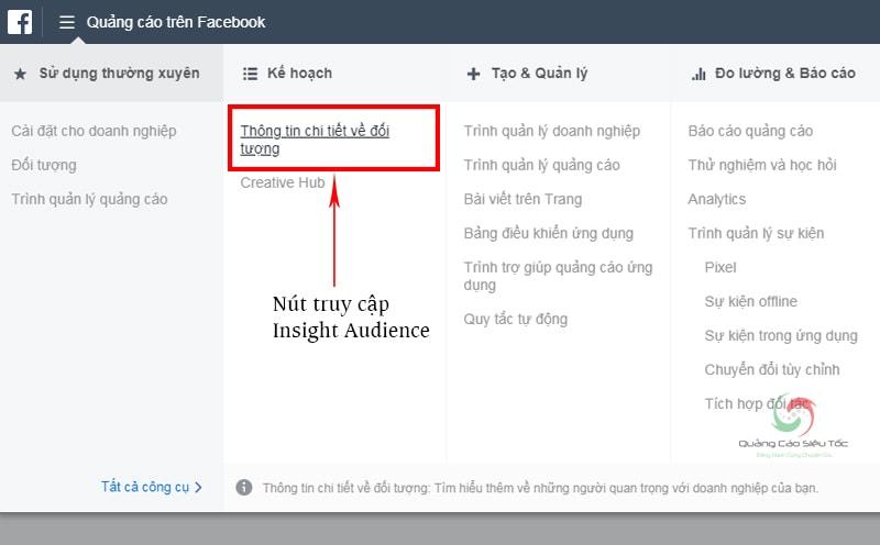 Thao tác trên trình quản lí quảng cáo của Facebook
