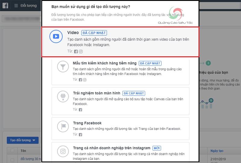 Mục Video trong Trình Tạo Đối Tượng Tùy Chỉnh của Facebook