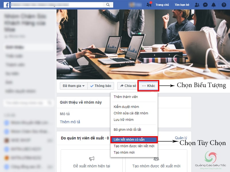 Truy cập nút Liên Kết Nhóm Có Sẵn trong group facebook