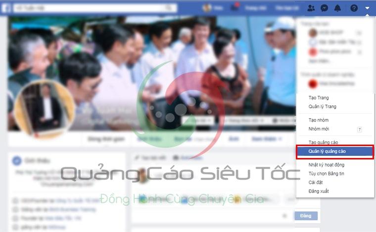 Cách truy cập trình quản lý quảng cáo của Facebook