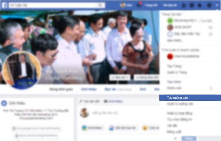 Cách truy cập trình quản lí quảng cáo của facebook